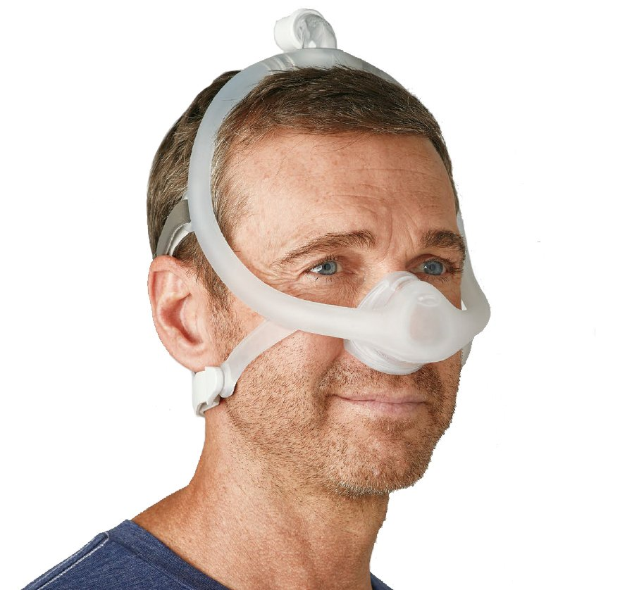 Man using DreamWisp Nasal Mask without tube connector.