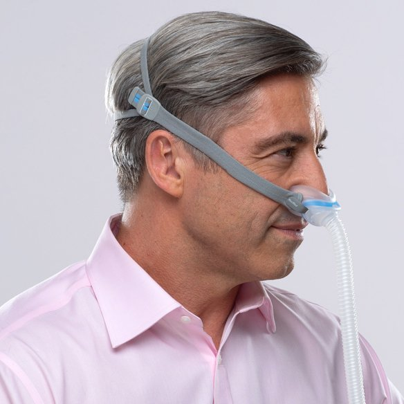 Side view of man using AirFit N30 Mask with medium size cushion.