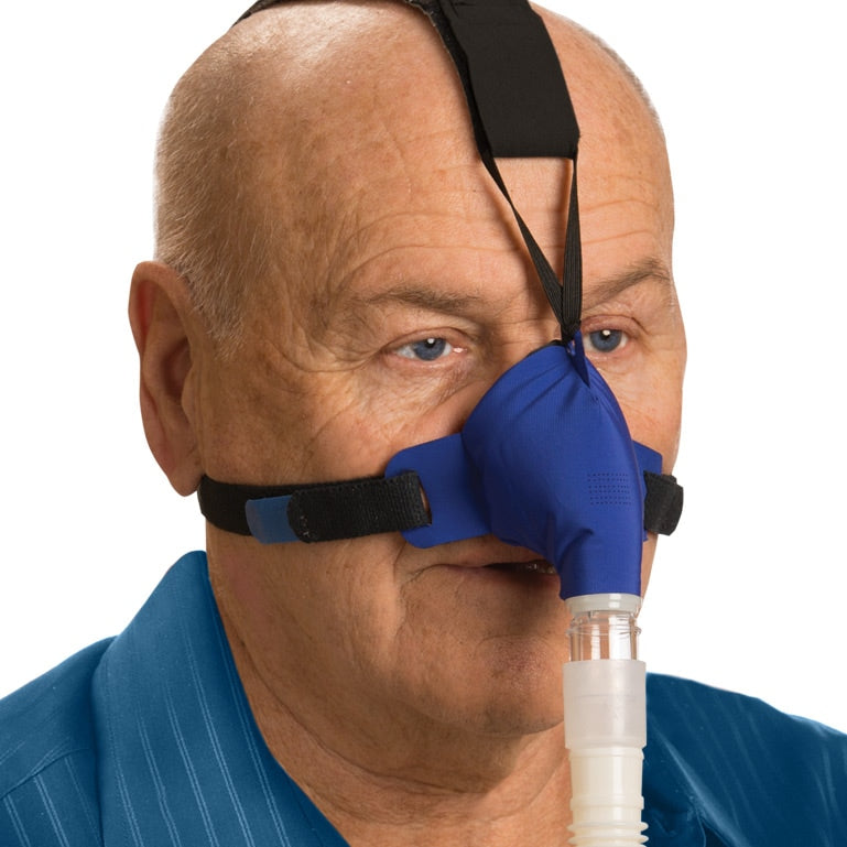 Man using the blue SleepWeaver Advance Nasal Mask with improved Zzzephyr seal.