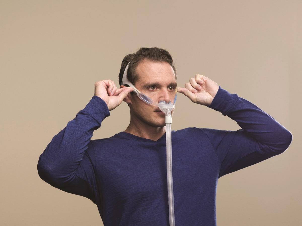 Man adjusting the Nuance CPAP Mask.