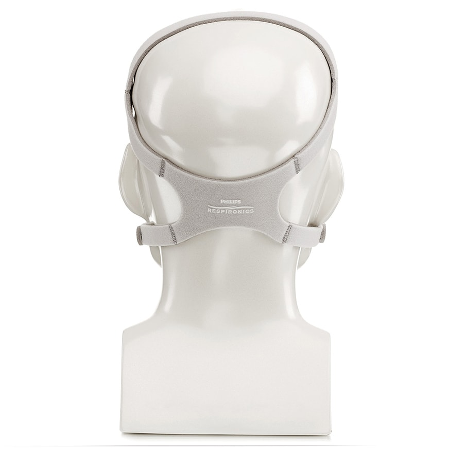 Back view mannequin using a grey headgear for Pico Nasal CPAP Mask Fit Pack by Phillips Respironics.