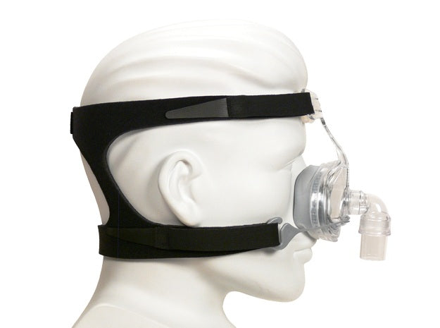 Mannequin with clear Zest Premium Nasal CPAP Mask with black Headgear by Fisher & Paykel.