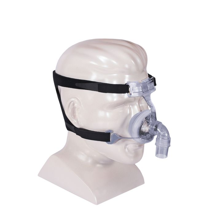 Mannequin using clear nasal mask with black headgear for FlexiFit HC406 Petite Nasal CPAP Mask.