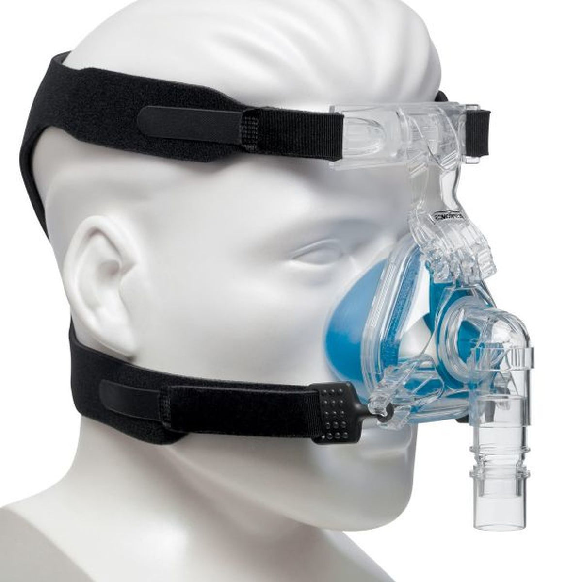 Mannequin side preview of Philips Respironics ComfortGel Blue Nasal Mask with Headgear
