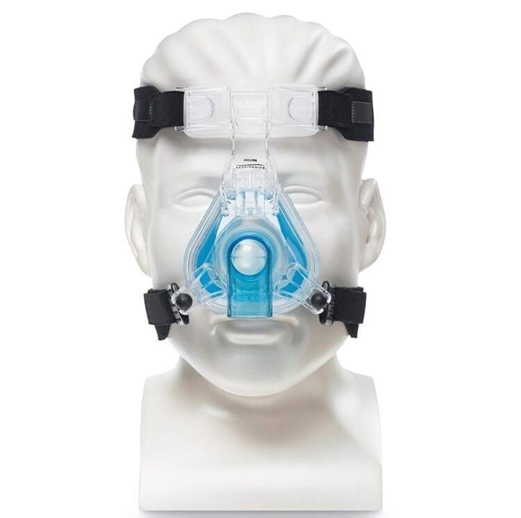 Mannequin preview of Philips Respironics ComfortGel Blue Nasal Mask with Headgear