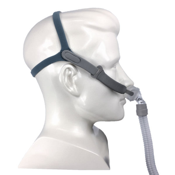 Side view of mannequin with Rio 2 Nasal Pillow System Mask With Headgear by 3B Medical.