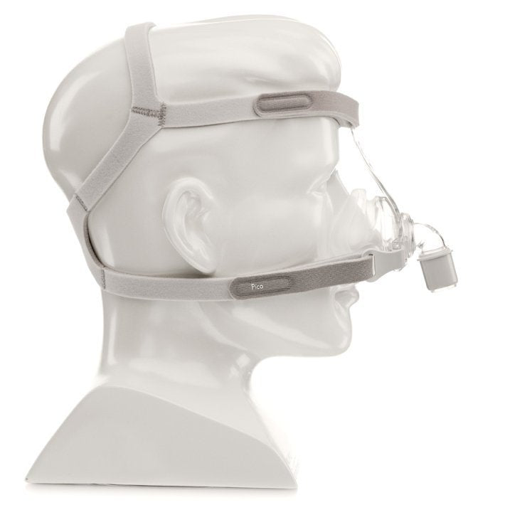 Right angle of mannequin using a grey headgear with clear nasal mask system for Pico Nasal CPAP Mask Fit Pack by Phillips Respironics.