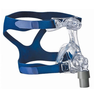 Side view of clear Mirage Micro Nasal Mask with blue headgear and grey tube connection by ResMed.