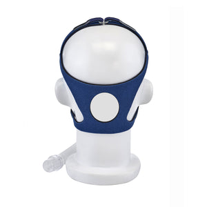 Back view of mannequin with Nonny Full Face Pediatric CPAP Mask by AG Industries.
