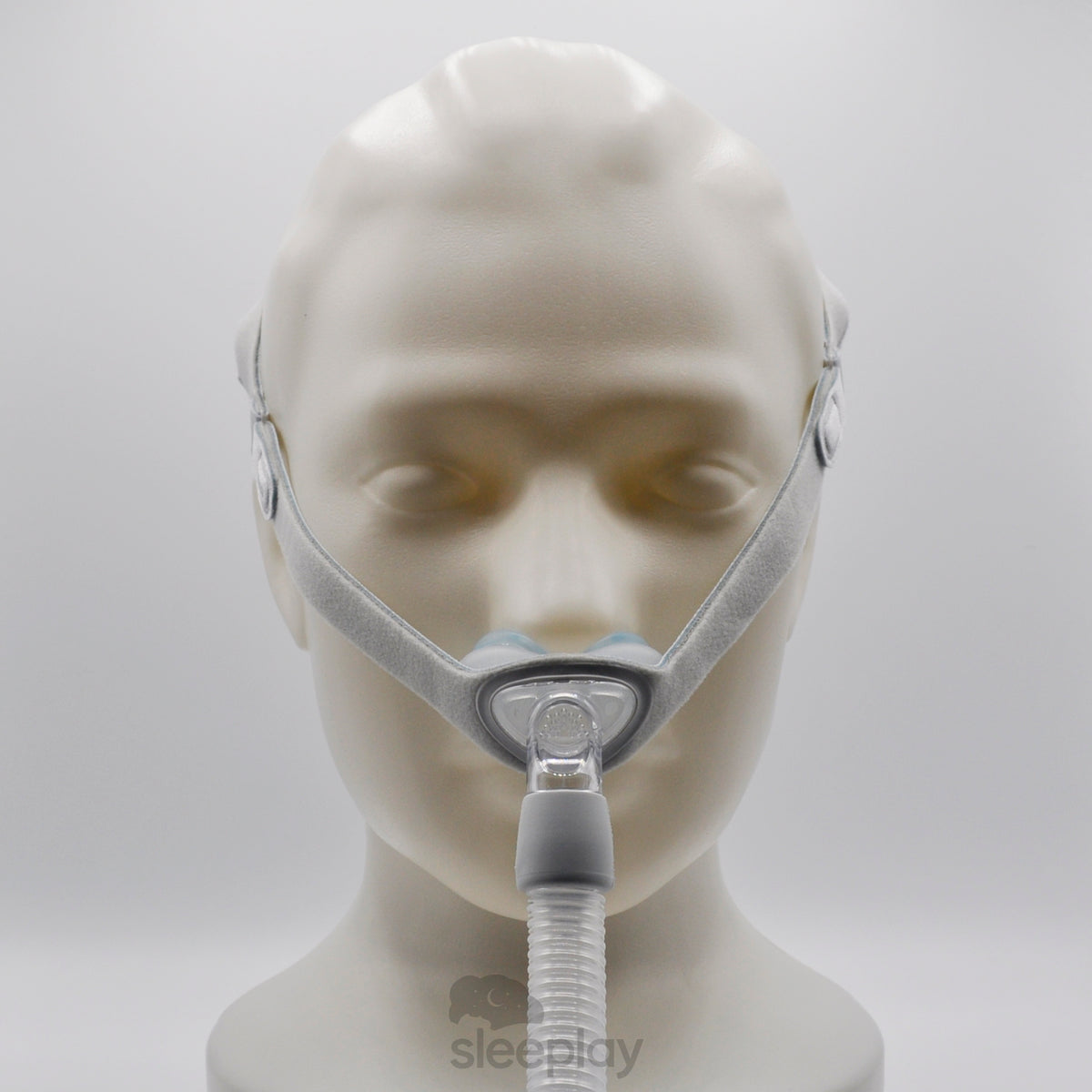 Face Wearing Nuance Nasal Pillow Mask From The Front.