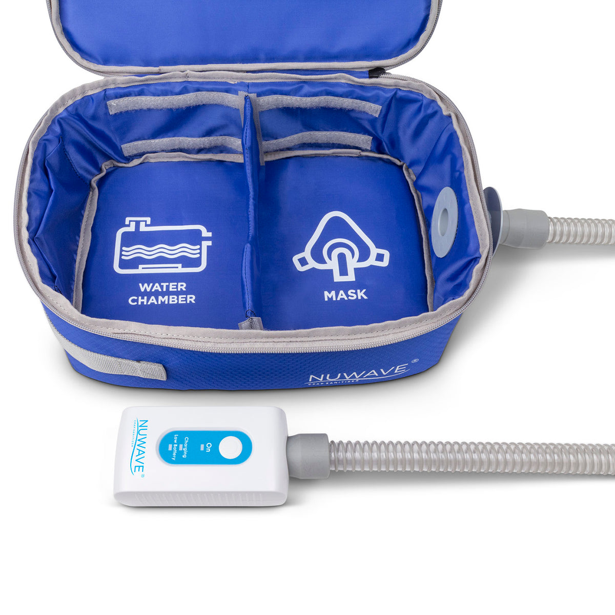 Front view of travel blue bag and NUWAVE Cleaner by Western Medical Inc.