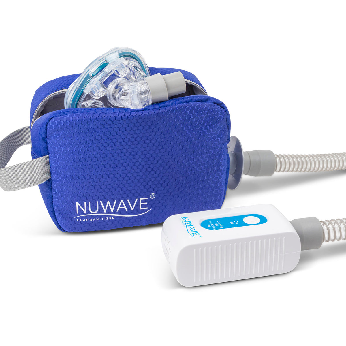 White with blue part CPAP machine cleaner in travel size with open travel blue bag by Western Medical Inc.