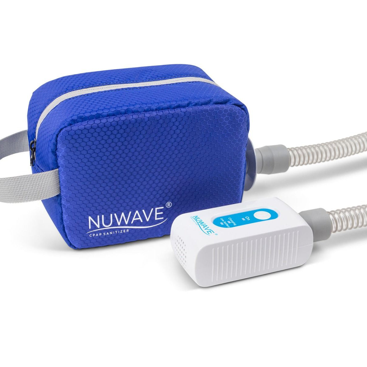 White with blue part CPAP machine cleaner in travel size with travel blue bag by Western Medical Inc.