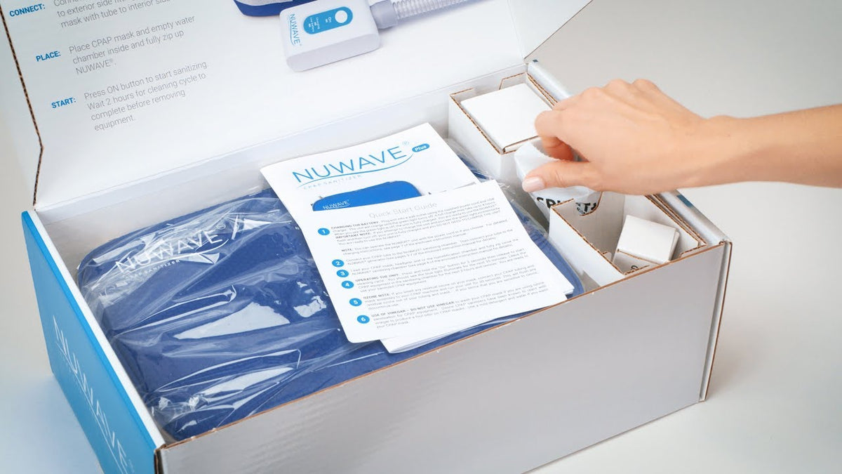 Box package of NUWAVE CPAP Cleaner Travel with instructions guide.