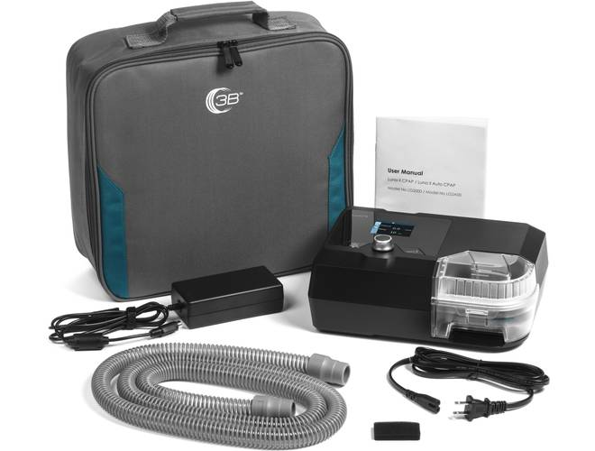 Front view of Luna II CPAP With Integrated Heated Humidifier, square pack, user manual and included battery cables.