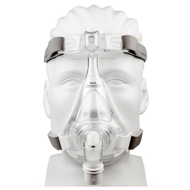 Front view of mannequin with Amara Full Face CPAP Mask with Gel & Silicone Cushions