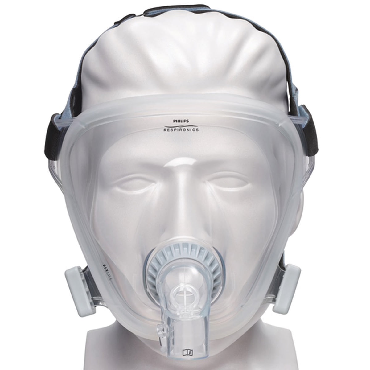 Front view of clear full face mask from FitLife Total Face CPAP Mask With Black Headgear by Phillips Respironics.