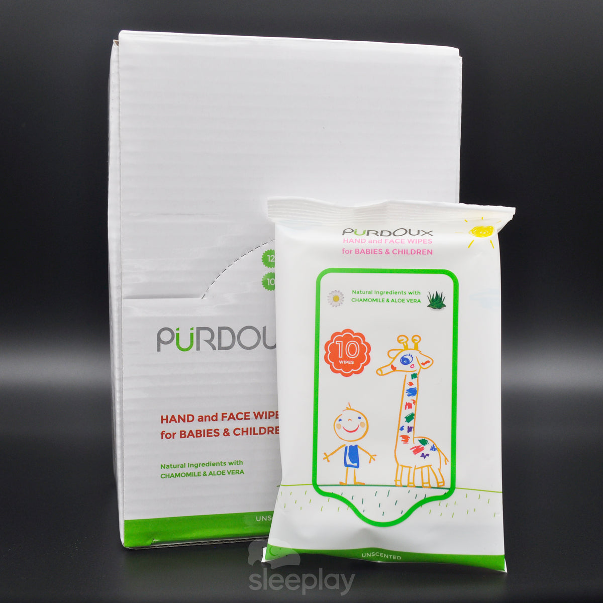 Bag And Box Of Purdoux Babies And Childrens Wipes