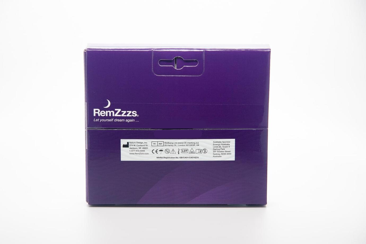RemZzzs full face mask liners 30 units view of the box back side