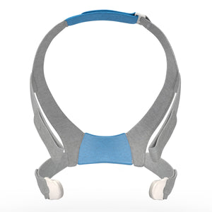 Front view of Resmed AirFit F30 Headgear with grey straps.
