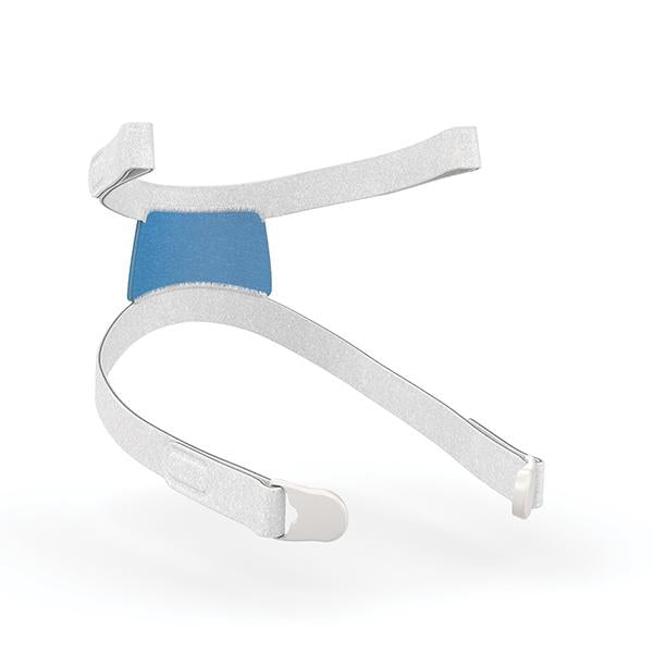 Isometrical view of ResMed AirFit F30i headgear with grey straps and blue pad.