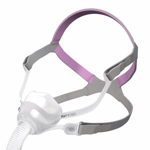 Isometric view of clear silicone nasal mask and grey headgear with pink accents for AirFit N10 For Her by ResMed.