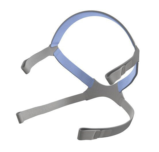 Isometric view of grey headgear with blue accents for AirFit N10 For Her by ResMed.