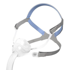 Isometric view of clear silicone nasal mask and grey headgear with blue accents for AirFit N10 For Her by ResMed.