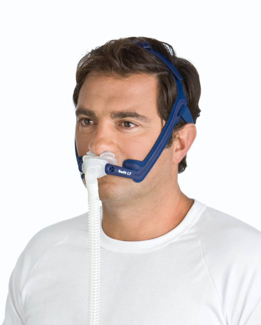 Man wearing the Swift LT Nasal Mask