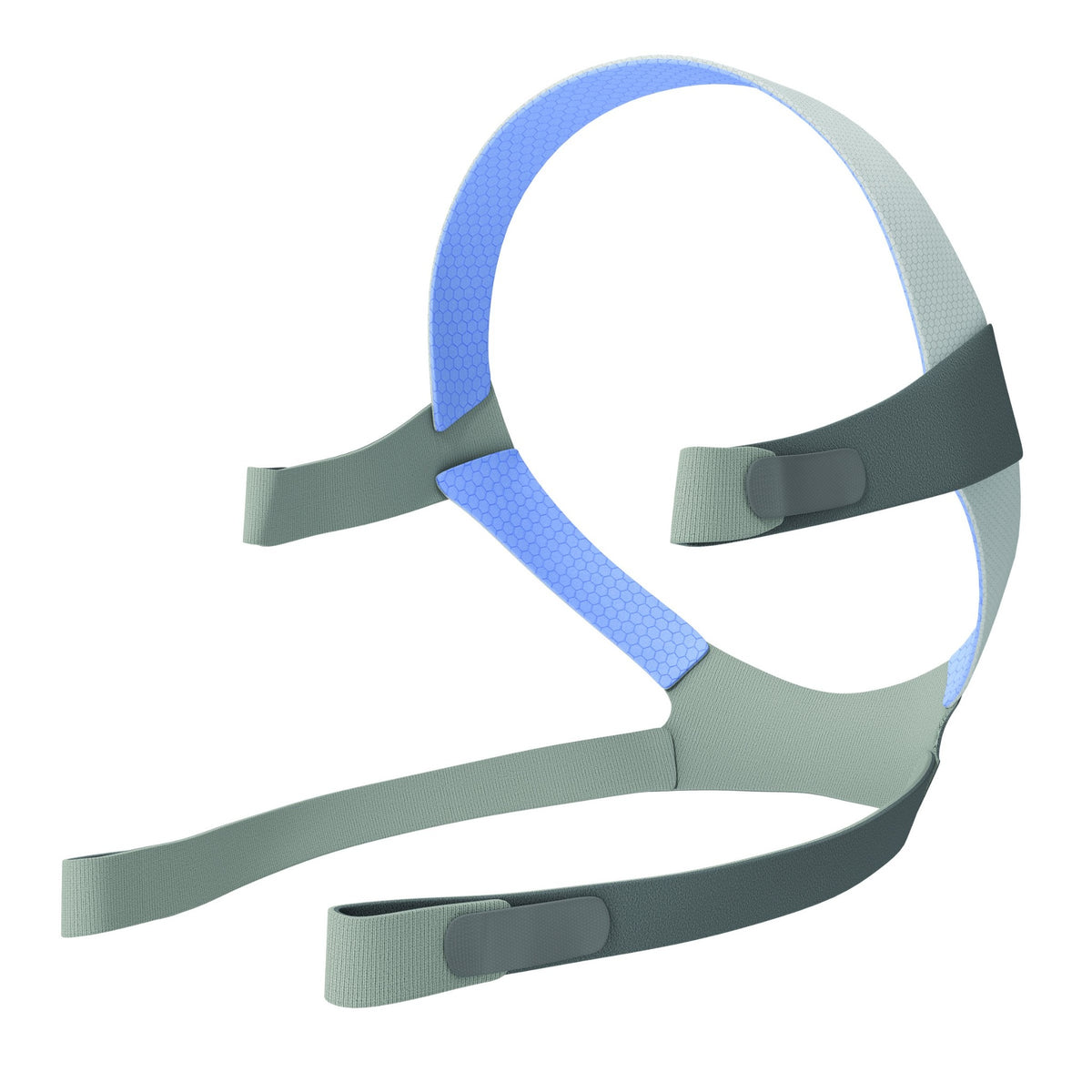 Resmed AirFit™ F10, standard blue headgear on a white background