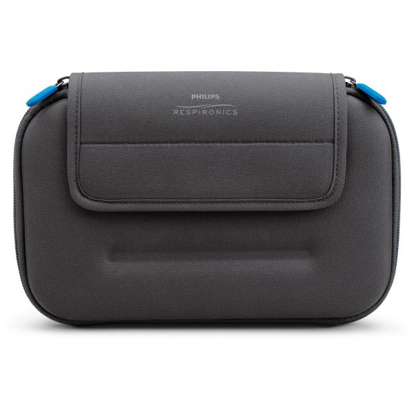 Front view of black battery kit case with blue zipper