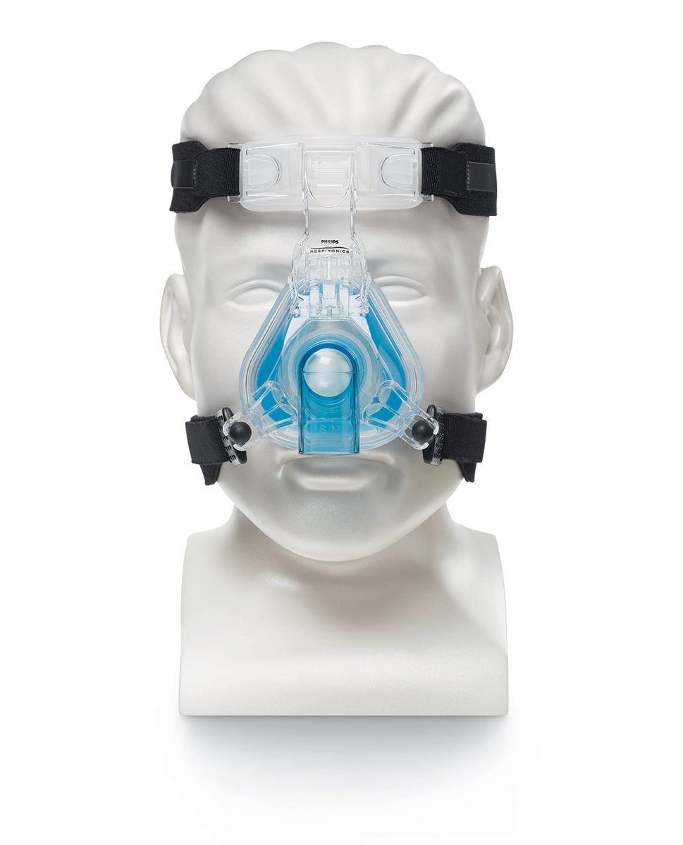 Front view of mannequin with ComfortGel Blue Nasal CPAP Mask with headgear.