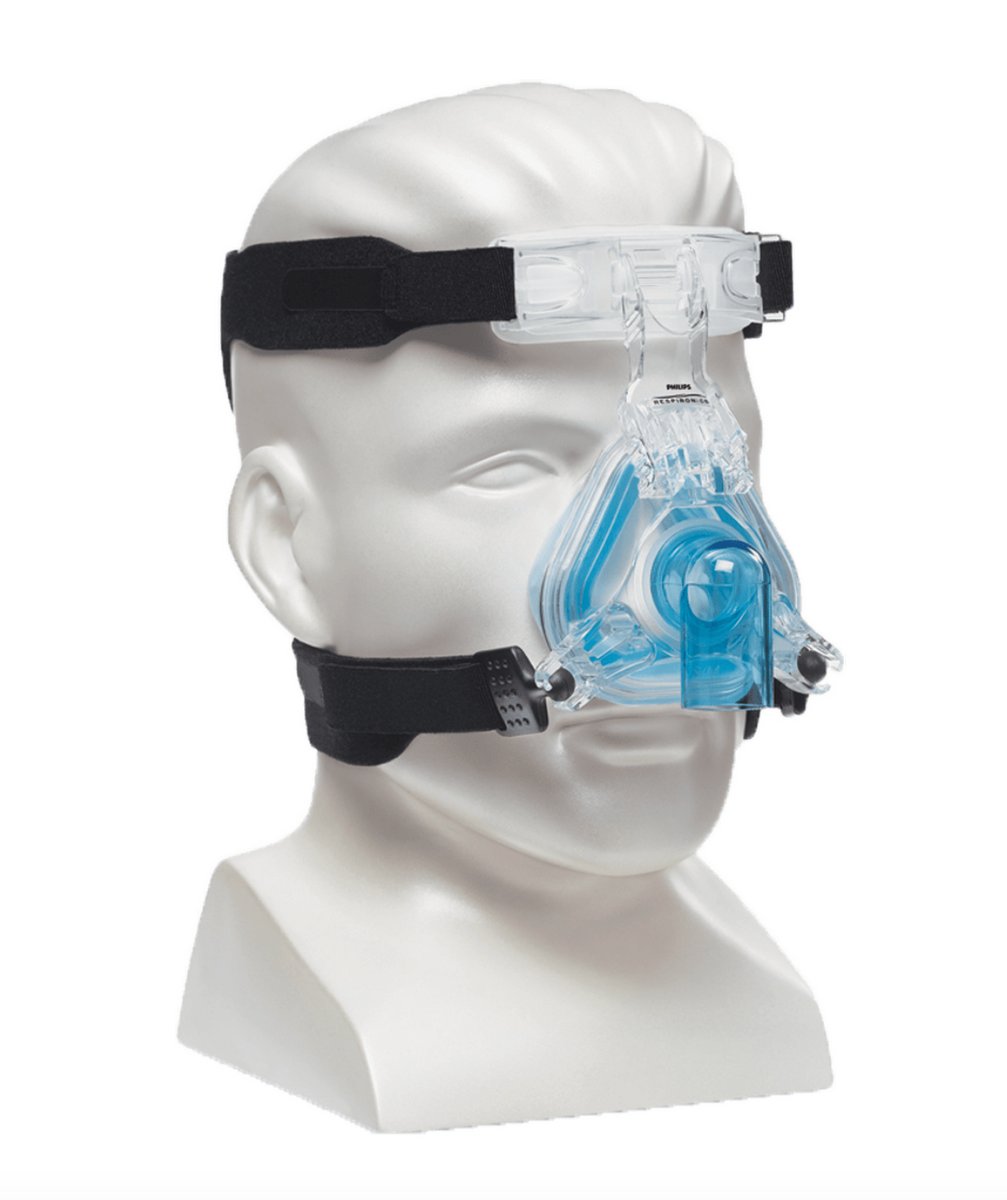 Side view of mannequin with ComfortGel Blue Nasal CPAP Mask with headgear.