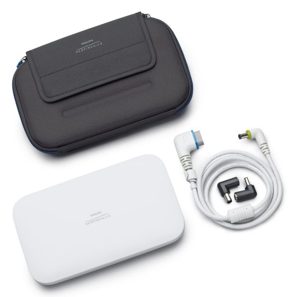 Respironics Travel Battery Kit with black case and white cord for PR System One & DreamStation