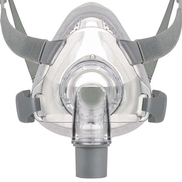 Detail view of grey headgear and nasal frame cushion for Siesta Full Face Mask by 3B Medical.