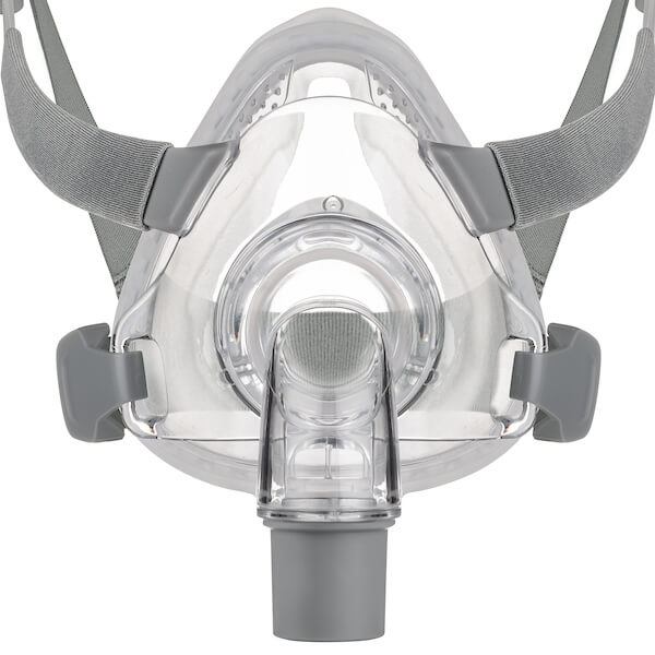 Detail view of grey headgear and nasal frame cushion for Siesta Full Face Mask All Size Fit Pack by 3B Medical.