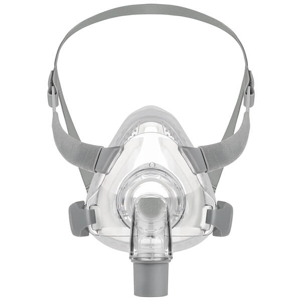Front view of grey headgear and nasal frame cushion for Siesta Full Face Mask All Size Fit Pack by 3B Medical.