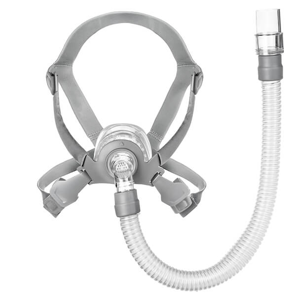 Front view of grey headgear and nasal frame cushion with swivel tube connector for Siesta Nasal Mask by 3B Medical.