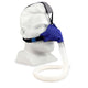 Blue SleepWeaver Advance Nasal Mask with improved Zzzephyr seal and tube connection.