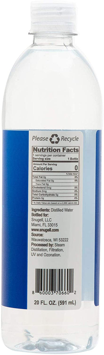 Nutrition facts of Snugell Distilled Water.