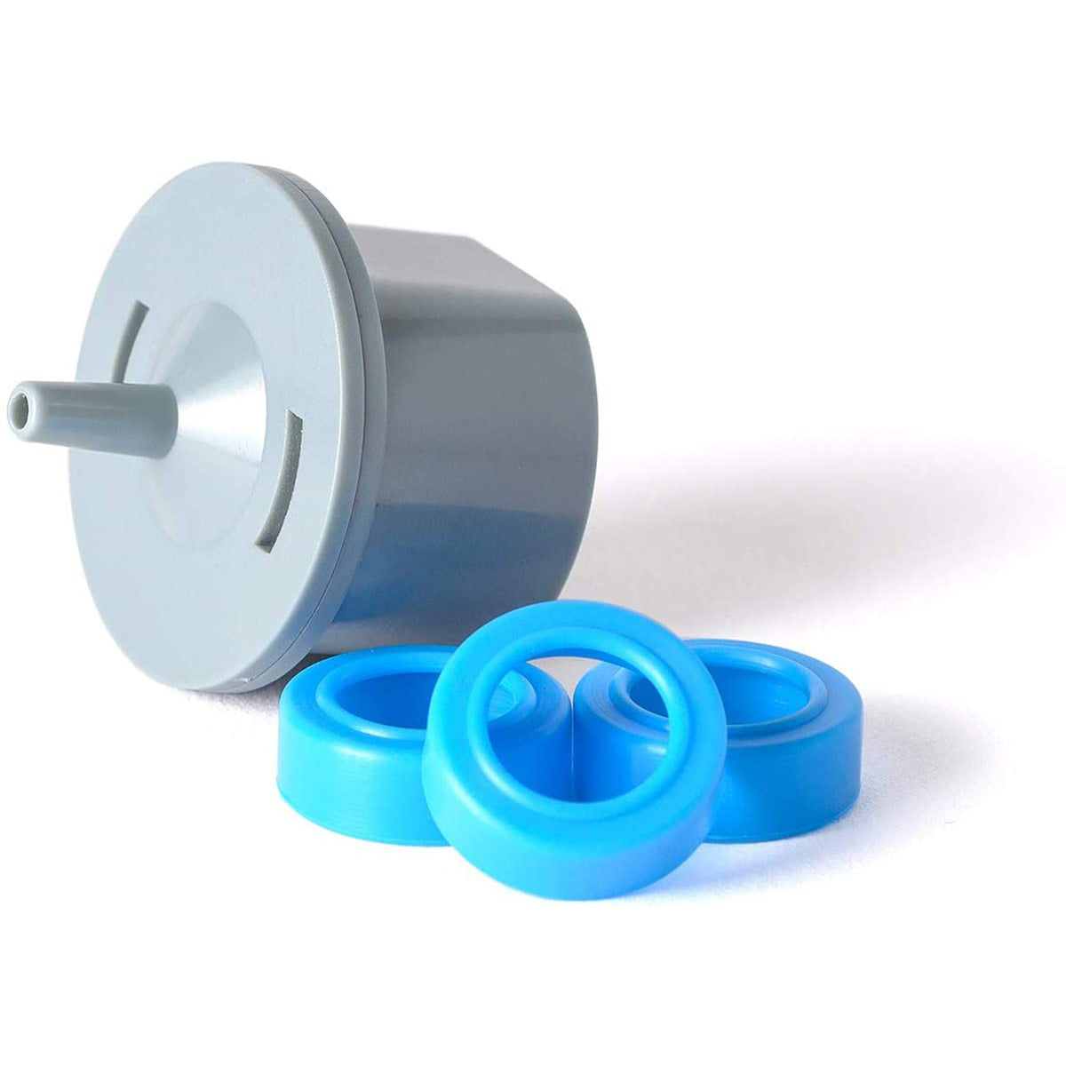 SoClean blue circle adapter and grey adapter for DreamStation Go and ResMed AirMini.