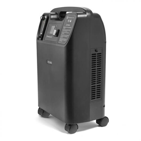 Side view of Stratus 5 Oxygen Concentrator Bundle - 5 LPM