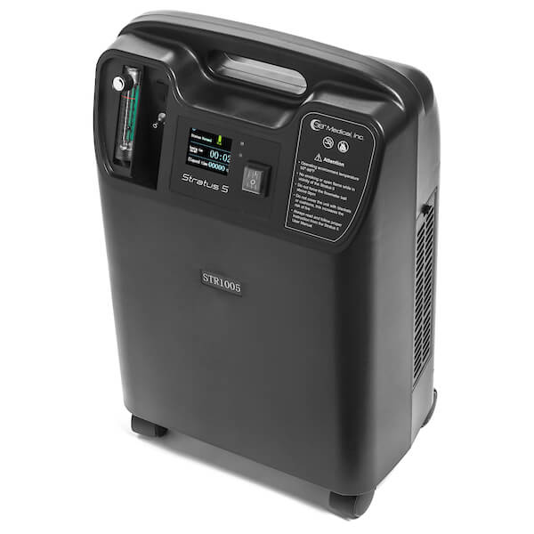To view of switches and LED display of the Stratus 5 Oxygen Concentrator Bundle - 5 LPM