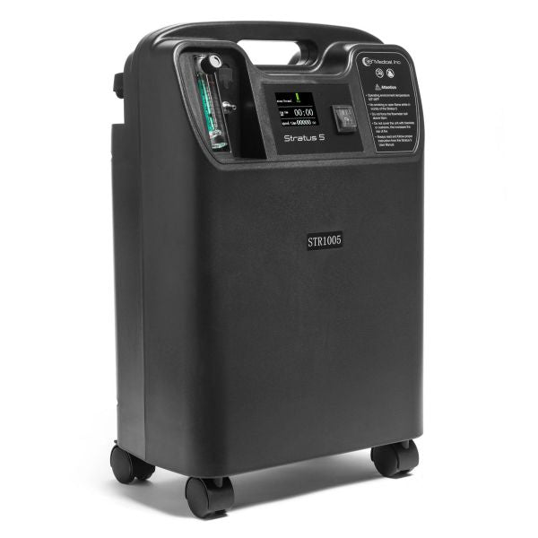 Isometric view of black Stratus 5 Oxygen Concentrator Bundle - 5 LPM