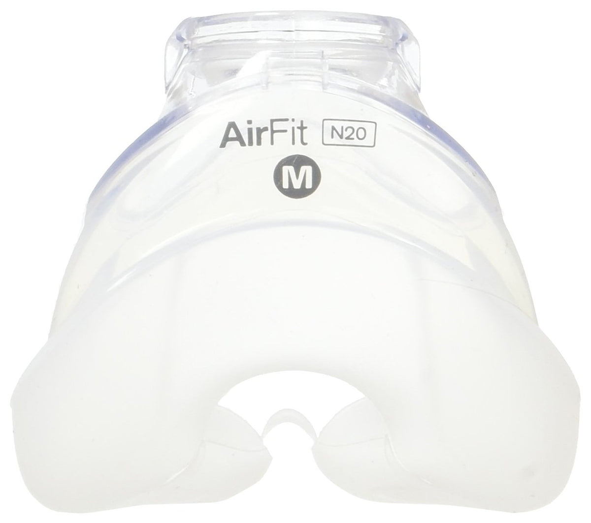 Top view of transparent silicone cushion for ResMed AirFit N20.
