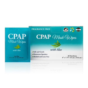 Front view of package and one wipe package of Travel CPAP Wipes (Fragrance Free - Aloe) - 30/box