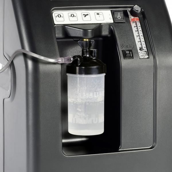 Closeup view of water machine of Compact 525DS Oxygen Concentrator Bundle - 5 LPM