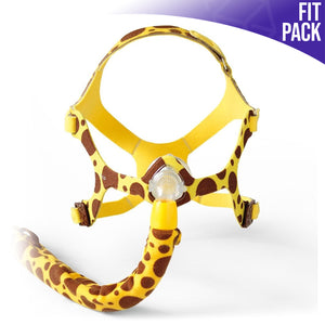 Front view of Wisp Pediatric Nasal Mask with giraffe print.