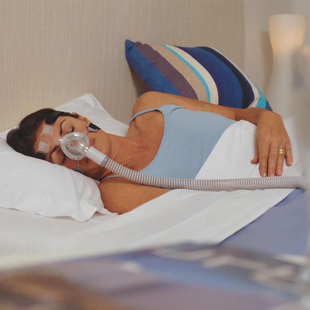 Woman sleeping using a clear nasal mask with black headgear for FlexiFit HC406 Petite Nasal CPAP Mask.