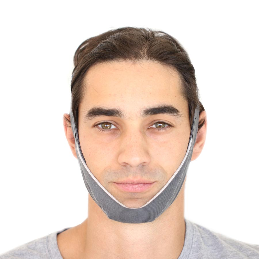 Front view of face wearing chin strap.